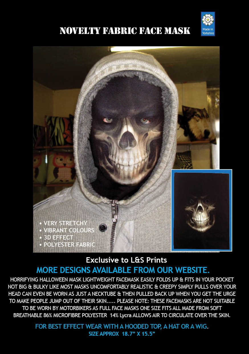 NEW YEAR PARTY GRIM REAPER FABRIC FULL FACE MASK FANCY