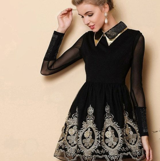 Baroque royal gold embroidery dress - BLACK - folk russian theme french laces coctail dress, new year party elegant christmas tunique