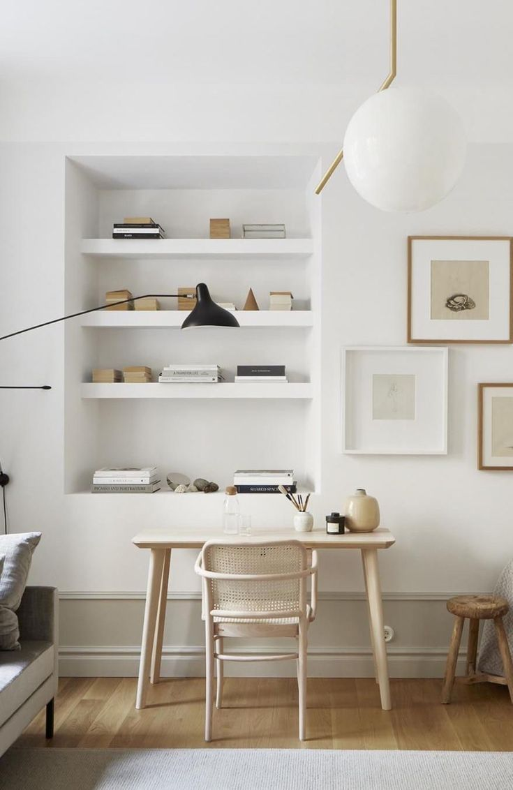 Minimal Office Space With Nook Home Office Design Home House Interior