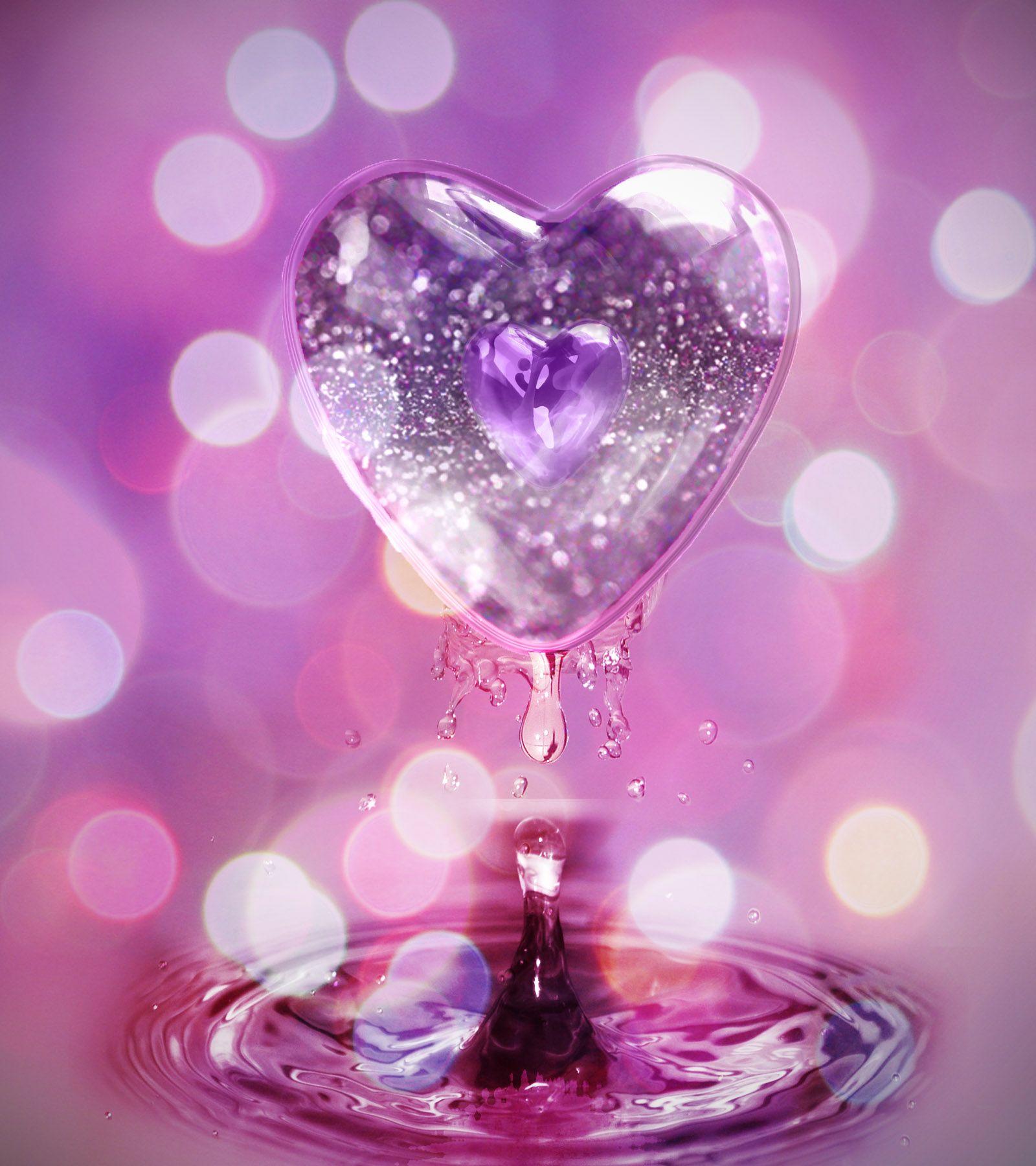 Glitter hearts pink heart glitter by monamalik digital - Pink roses and hearts wallpaper ...