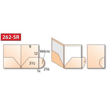 "Class: Pocket Folder Style: Two Pocket - 262-SR Size: 9"" x 12"", 2 - 5-1/2"" PocketsFeature:Outside wrap-around / Optional Velcro® Dot EnclosureSku:262-SR"