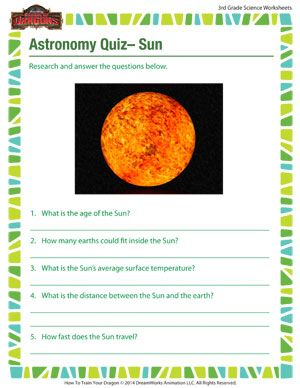 astronomy quiz sun printable 3rd grade science worksheet for astronomy outer space. Black Bedroom Furniture Sets. Home Design Ideas