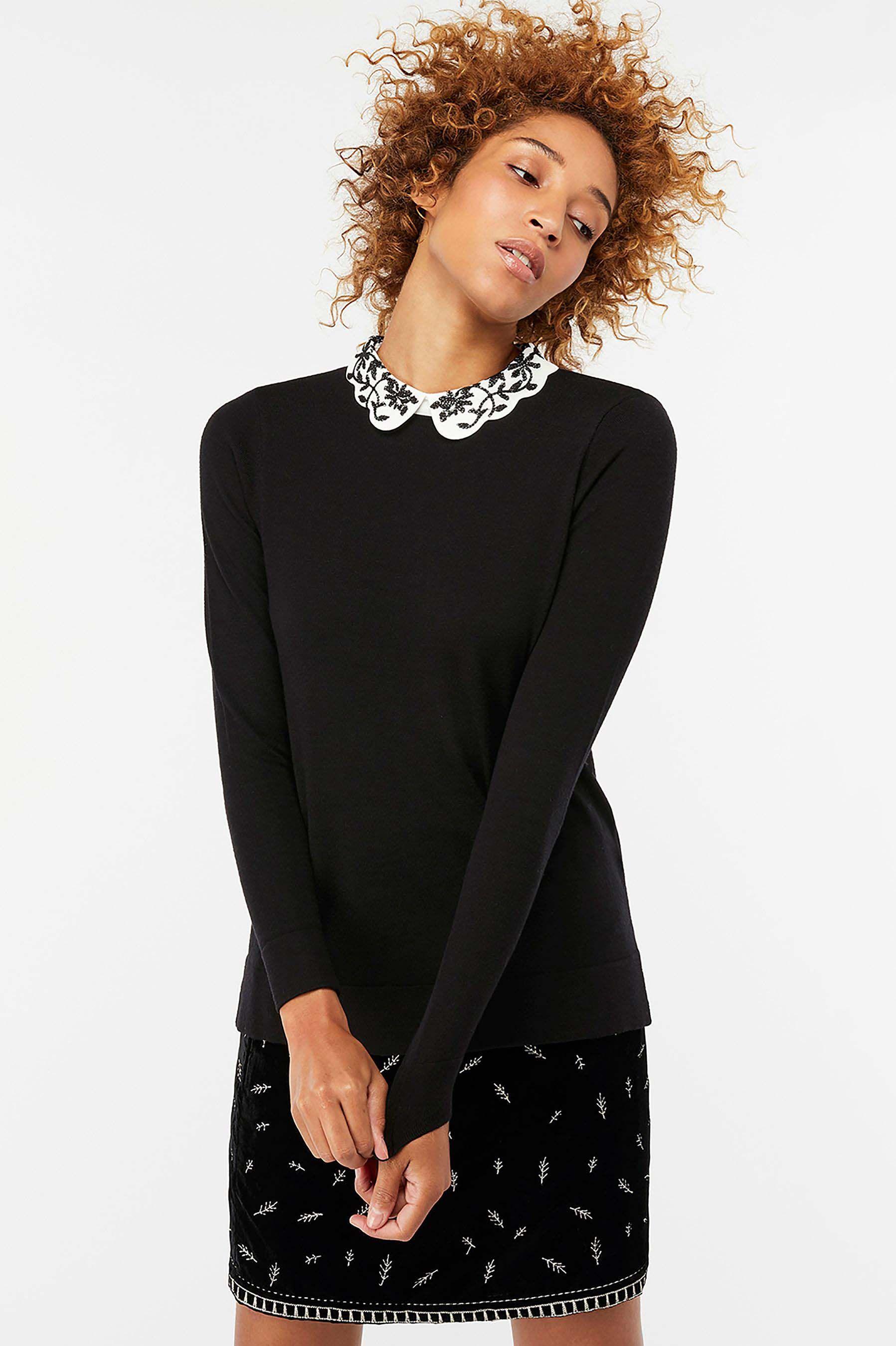 4a3dfa0b4d8d4b Womens Monsoon Black Elvie Embroidered Scallop Collar Jumper - Black ...