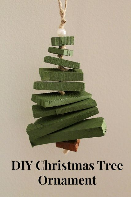 Scrap wood Christmas tree ornament. This was the inspiration for a little tree I made from wood strapping out of an old plaster & lath house.