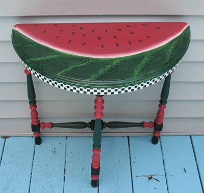 KATE LADD'S ART The Blue Heron Studio: Watermelon Table.Take up hobby in furniture painting,using Mosaic Tile  de coupage furniture or boards for decor