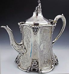 English silver antique teapot, Wm. Smiley, London 1858