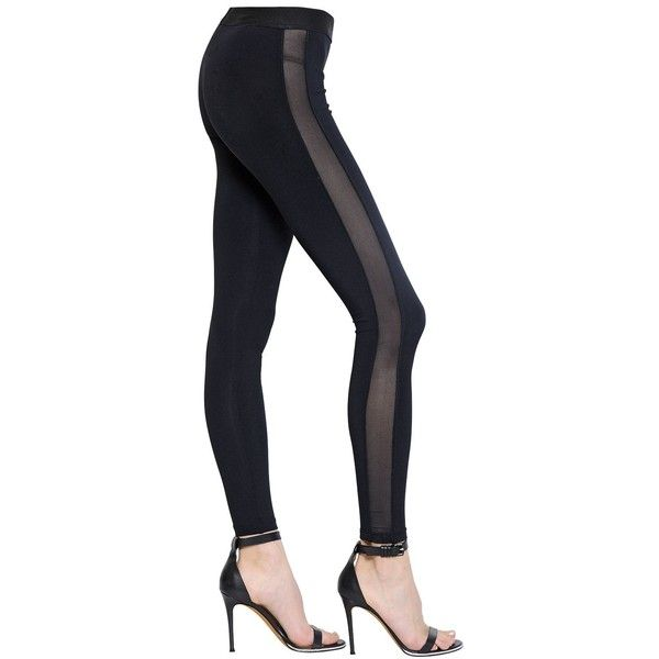03e139cc3cf7a DAVID LERNER Jersey Leggings With Mesh Side Bands ($270) ❤ liked on  Polyvore featuring black and david lerner