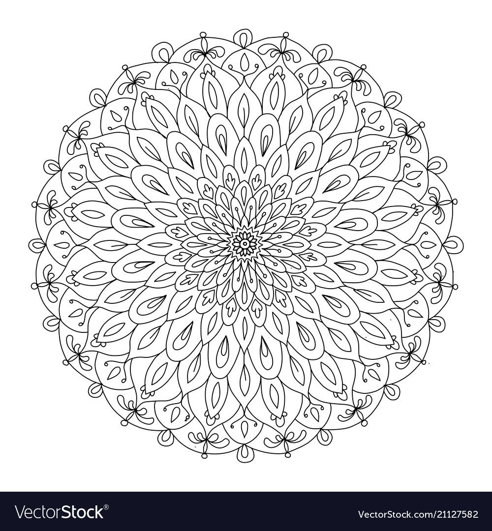 Mandala Ornament Colorful Pattern For Your Design Vector Image On Vectorstock Coloring Pages Coloring Books Colouring Pages