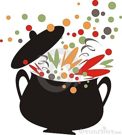 Retro Cooking Pot Bursting With Flavor Roasted Vegetable Soup Cooked Vegetables Chickpea Soup