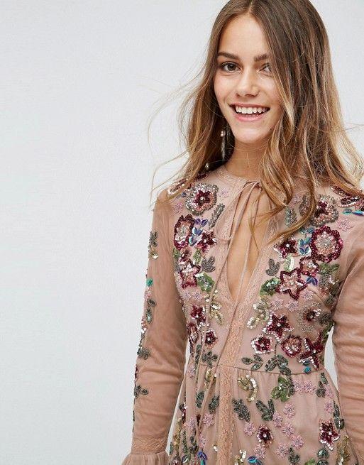 d5e357070c Frock And Frill Petite Allover Premium Embellished Fluted Hem Detail Skater  Dress