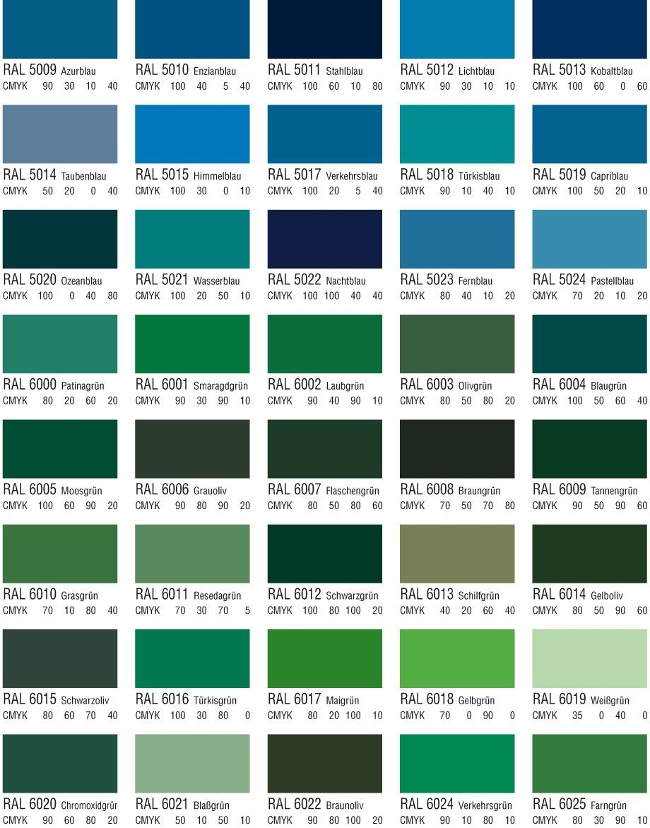 Farbpalette Blau Ral Color For Painting Metal Green Blaue Wandfarbe