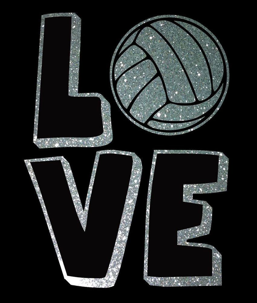 Love Logo Vinyl Wall Lettering Decal Car Sticker Ball Volleyball Glitter Silver Volleyball Wallpaper Volleyball Volleyball Inspiration
