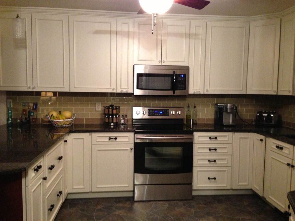 Khaki And Champagne Gl Subway Tile Kitchen Backsplash