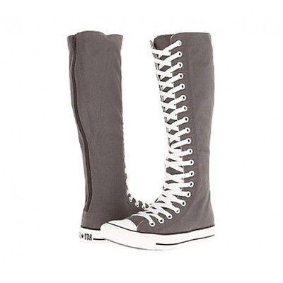 PUNK EMO Damenschuhe Segeltuch Stiefel Schnüren Sie sich Knie High Sneaker