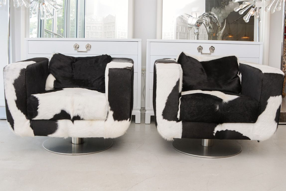 Charmant Black And White Cowhide Dresser | Pair Of Black And White Cowhide Swivel  Chairs At 1stdibs