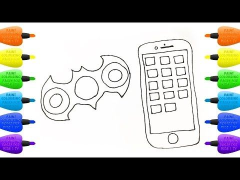 Spinner And Mobile Phone Coloring Book For Kids How To Draw Gadgets For Children Vidinterest Coloring Books Coloring For Kids Color