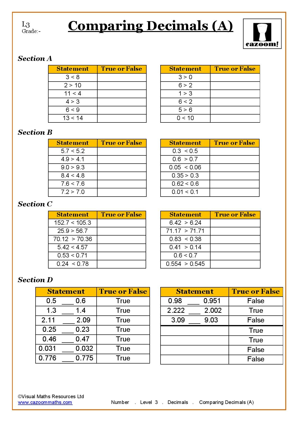 Cazoom Worksheet Comparing Decimals Ks3 Maths Worksheets Math Worksheet Scientific Notation Worksheet