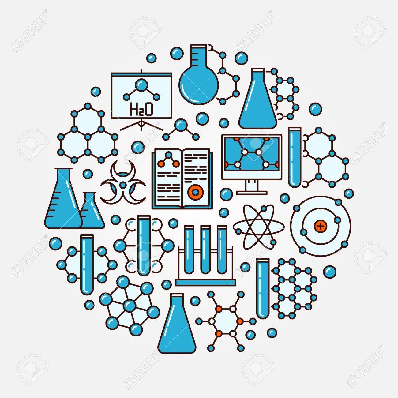 化学フラット イラスト。青い化学アイコンの丸いカラフルな科学記号 ...