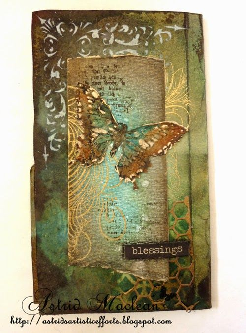Astrid's Artistic Efforts: Altered file folder back with Butterfly Duo Die and matching embossing folder; added Decoart Crackle Paint and coloured with Decoart Media fluid acrylics in matching colours then highlighted the raised bits, first with Walnut Stain ink and then with Treasure Gold.