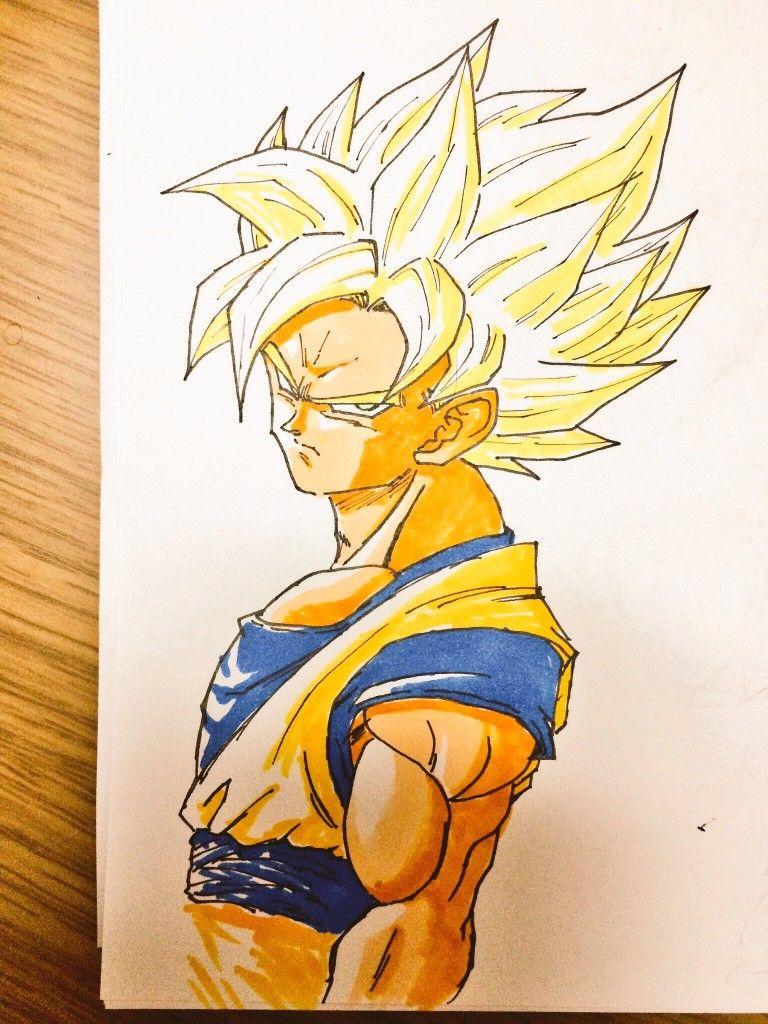 Dessin Son Goku Kakarotto Super Saiyajin Couleur