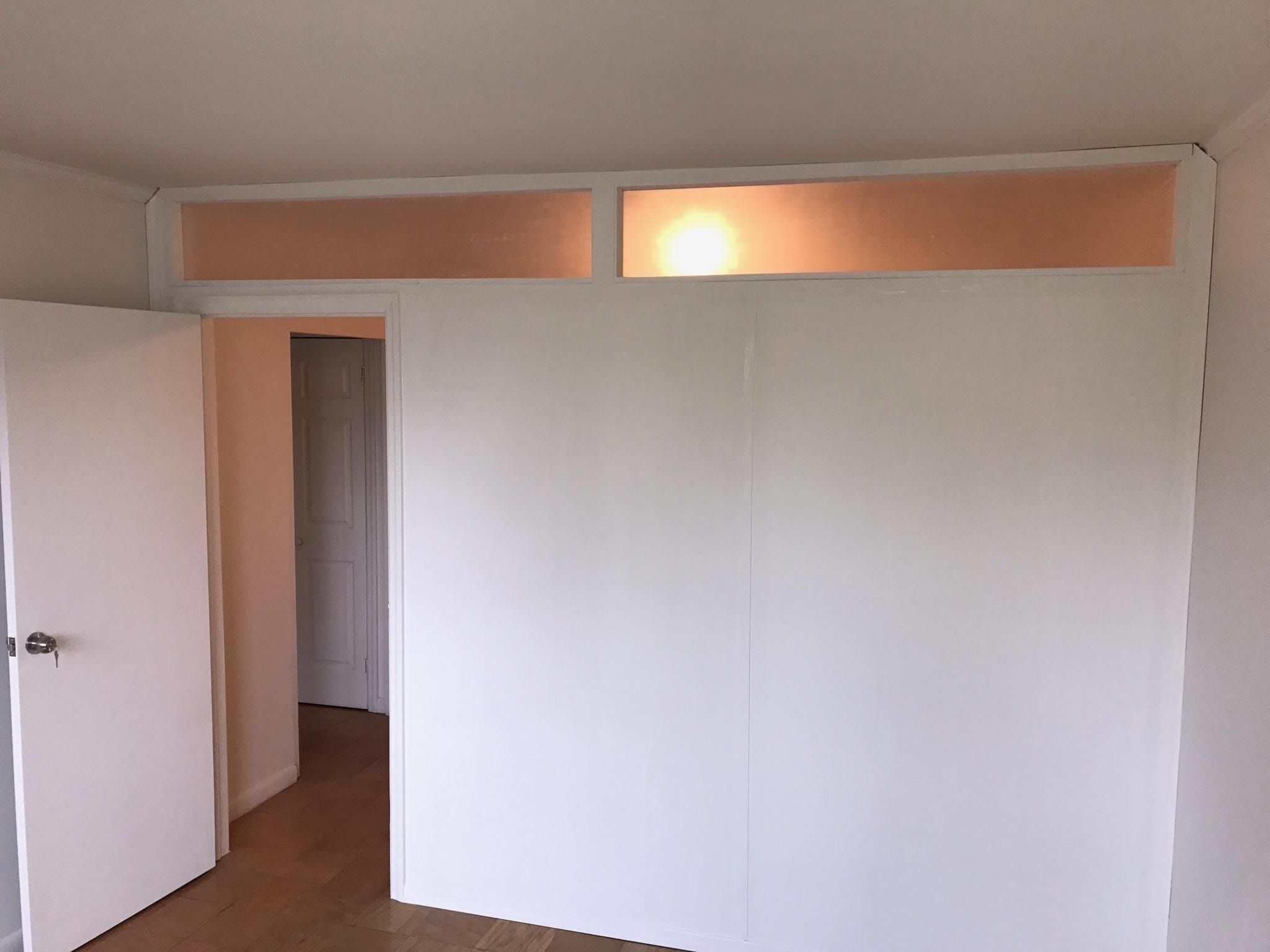 Recent Installation Temporary Partition With Plexiglass Transom Call Us For All Your Custom Room Partitio Fake Walls Room Divider Walls Room Divider Bookcase