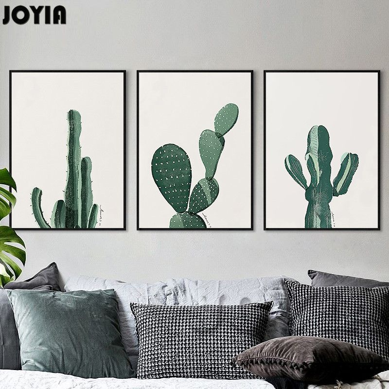 Black White Wall Painting Modern Minimalist Cactus A4 Canvas Art