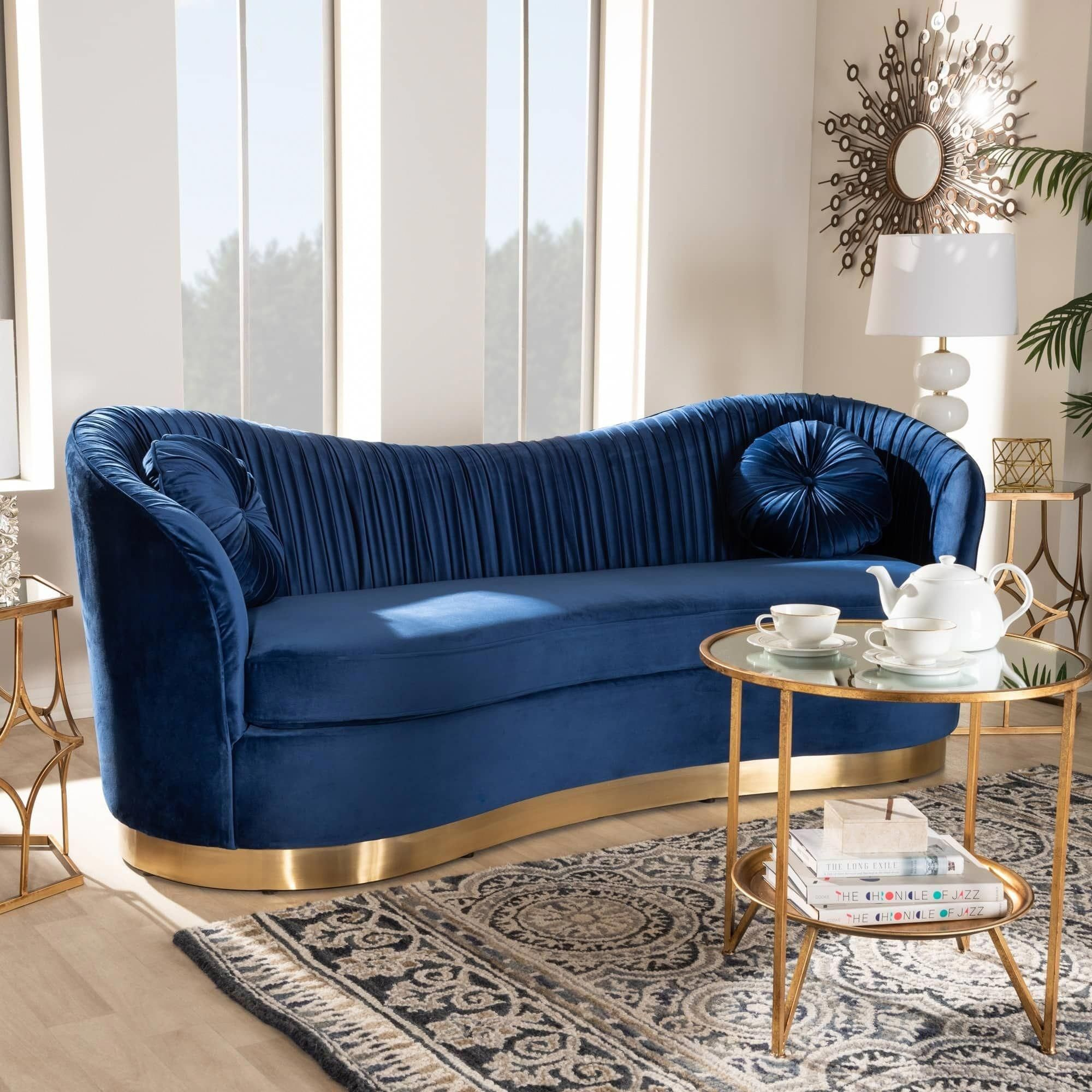 Tones Of Brown In Decoration 60 Ideas With Photos And Designs In 2020 Blue Velvet Sofa Living Room Blue Velvet Sofa Living Room Sofa