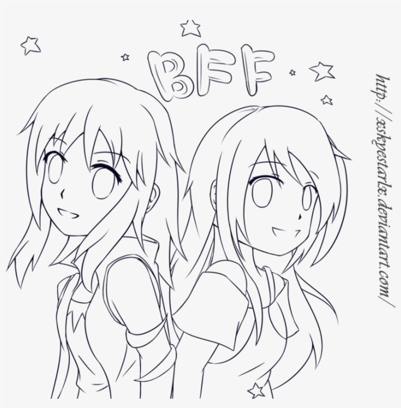 Download Bff Anime Colouring Pages Bff Best Friends Drawing Anime Png Image For Free Searc Cute Best Friend Drawings Drawings Of Friends Love Coloring Pages