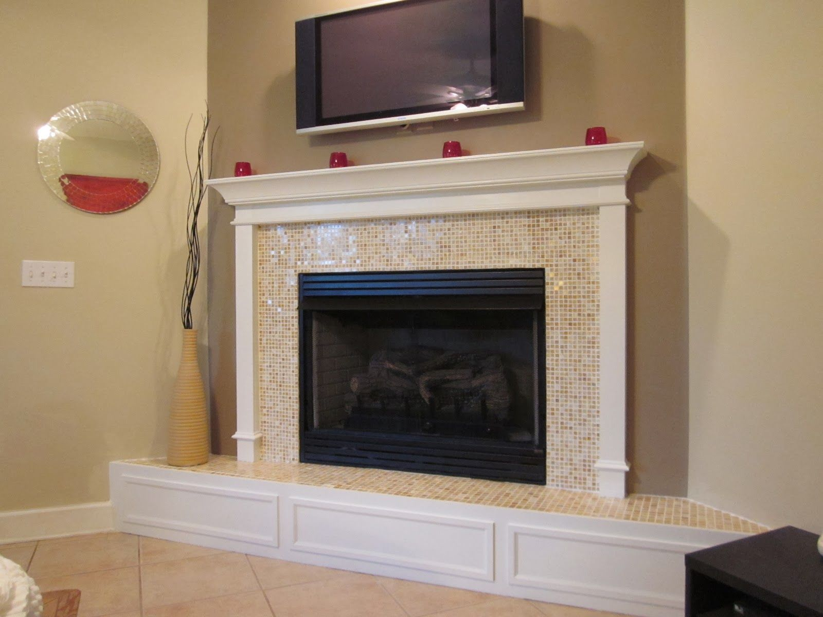 Black Marble Fireplace Hearth: White Marble Tile Fireplace, Black ...