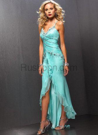 Hunter Green Spaghetti Satin Chiffon Long in Back Short in Front Prom Dress
