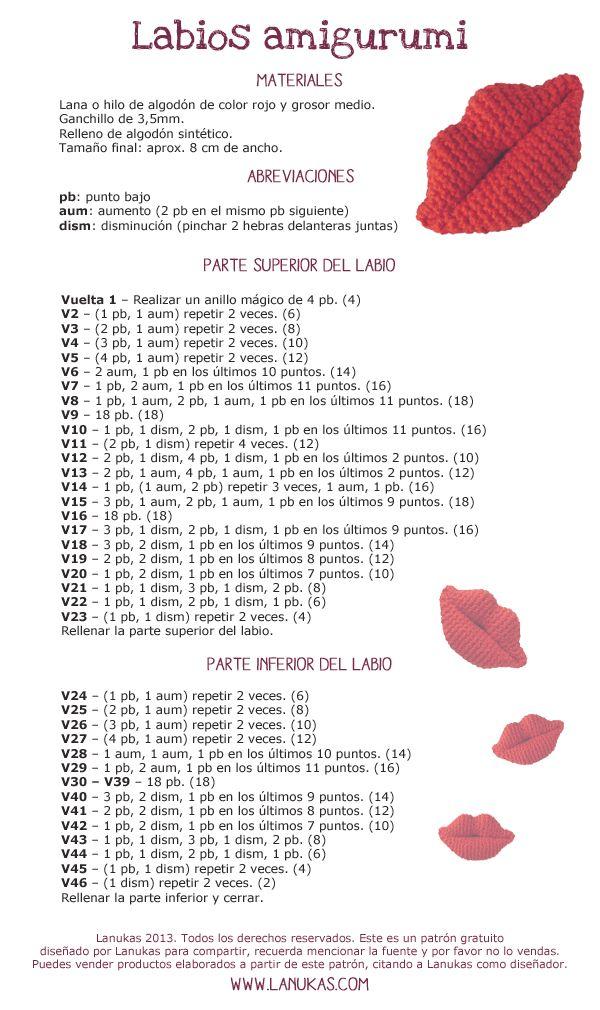 Lanukas: Labios Amigurumi | solo crochet | Pinterest | Amigurumi ...