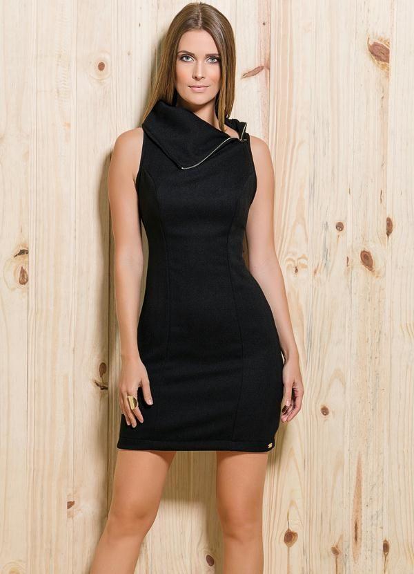 54cb9912c Vestido Tubinho Zíper Preto - Quintess | vestidos moldes roupas ...