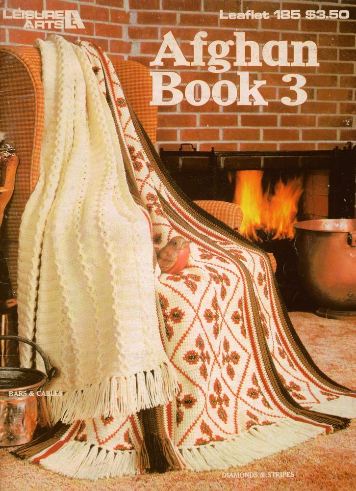 Knitting Crochet Patterns AFGHAN BOOK 3 Leisure Arts 185 Patchwork 1981 VTNS #LeisureArts #VintagePatternBook