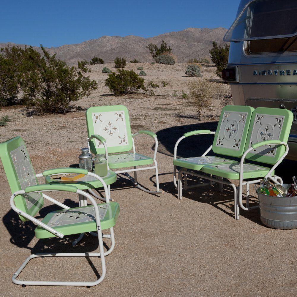 outdoor patio furniture conversation set vintage retro rocking