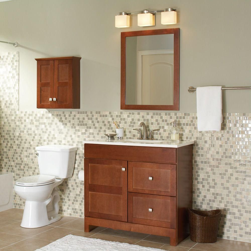Glacier Bay Artisan 36 5 In W Bath Vanity In Chestnut With Cultured Marble Vanity Top In White