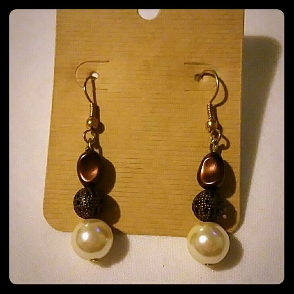 Earings Cream, bronze, and brown bead earings Jewelry Earrings