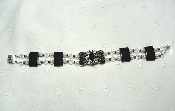 Hand Made Dual Strand Hemitite Bracelet / Hand Made Hematite, Pearl, and Crystal Bracelet