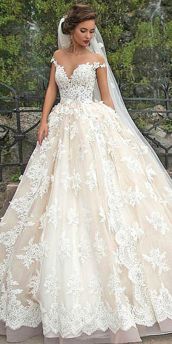 Simple disney off shoulder wedding dresses via milla nova Deer Pearl Flowers http