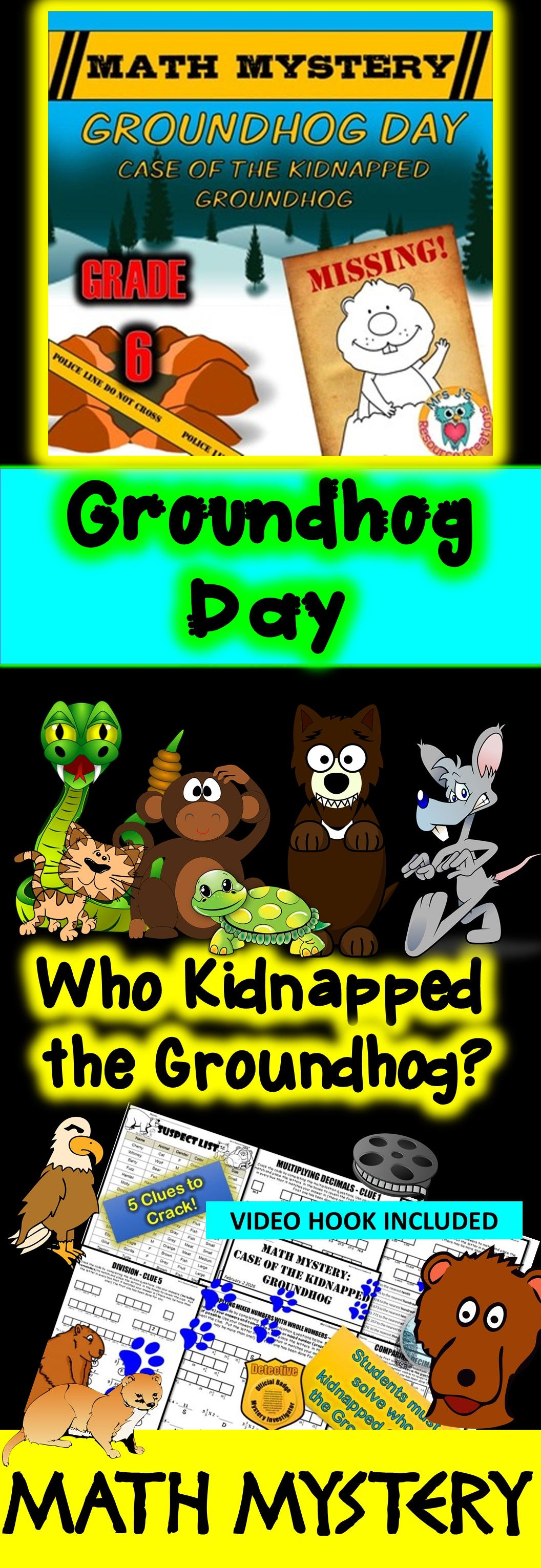 Groundhog Day Math Mystery Activity (6th Grade) | Maths, Activities ...