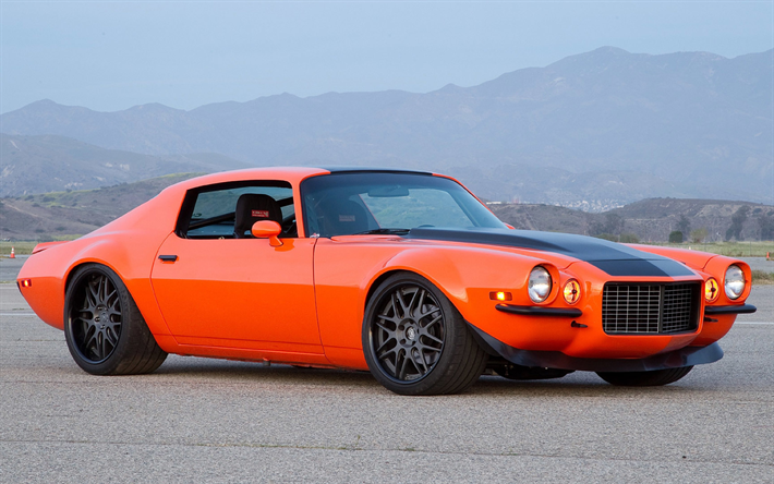 Download Wallpapers Chevrolet Camaro Z28 Tuning Muscle Cars 1973 Cars Orange Camaro American Cars Chevrolet Camaro Chevrolet