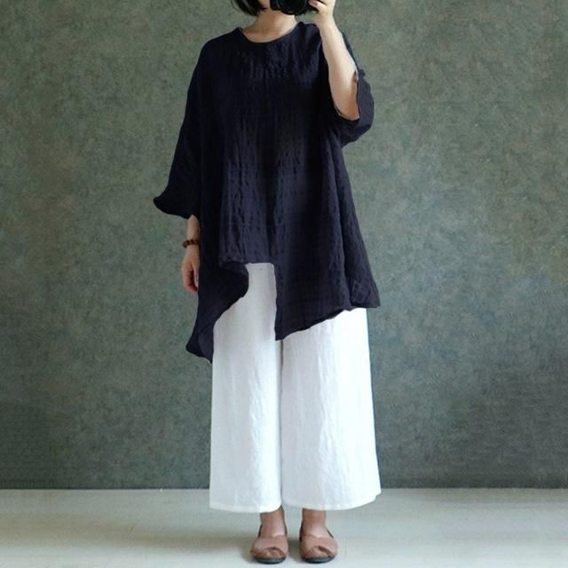 daafd7bc0f7 ZANZEA 5 Colors 5XL 2018 Womens Oversized Cotton Linen Blouse O Neck Long  Sleeve Blusa Split Baggy Casual Loose Tops Retro Shirt