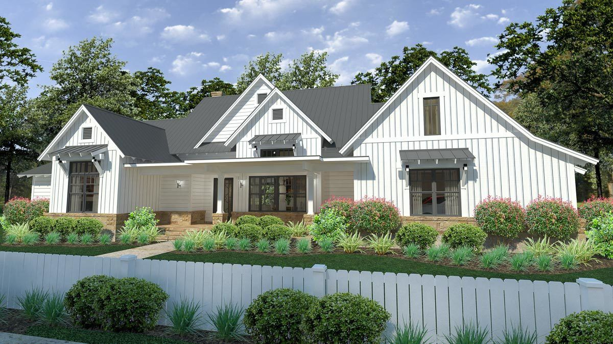 Plan 16900wg Modern Farmhouse With Split Bedroom Layout And Outdoor Fireplace In 2020 Modern Farmhouse Plans Modern Farmhouse Exterior House Plans Farmhouse