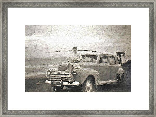 1950s Mornington Peninsular Beach Classic Car Surf Caster And Beauty On The Bonnet Framed Print by Joan Stratton