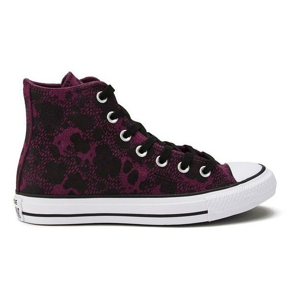 Converse Women's Chuck Taylor All Star Animal Material Hi-Top Trainers -  Deep Bordeaux/Black/White