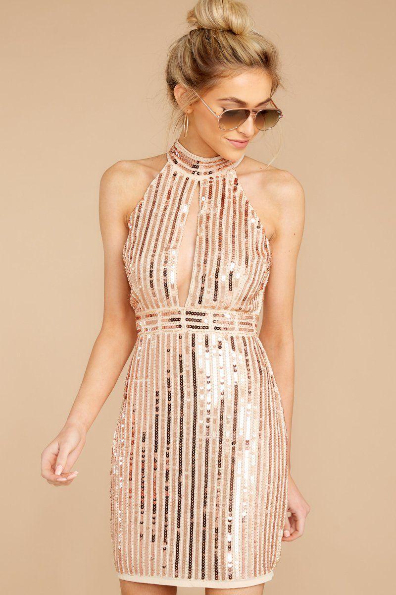 Elegant rose gold sequin dress short shiny party dress