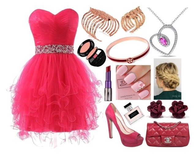 """Dark Pink Prom"" by bandlover11132 ❤ liked on Polyvore featuring Bjørg, Ralph Lauren, Giorgio Armani, Urban Decay, Miu Miu, Chanel, Miadora, Liberty, women's clothing and women's fashion"
