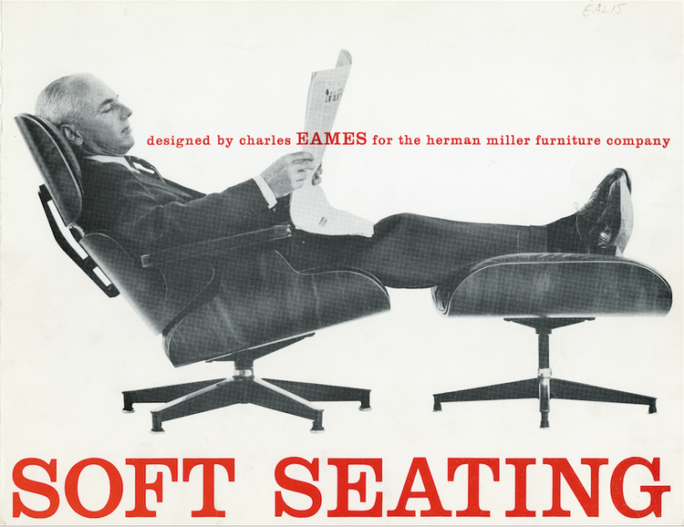 Charles Eames Lounge seating 1959 advertisement for the charles eames lounge set