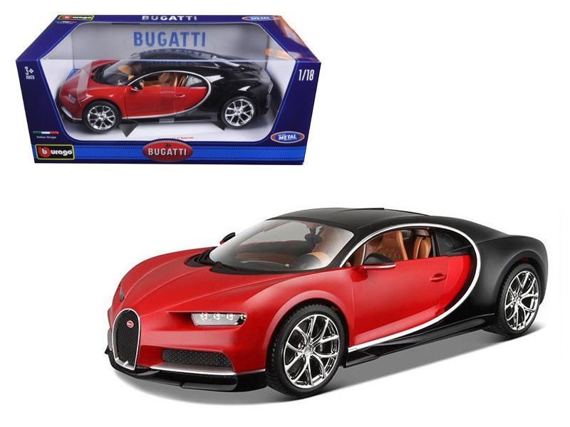 2016 bugatti chiron red with black 1 18 diecast model car by bburago bugatti chiron. Black Bedroom Furniture Sets. Home Design Ideas