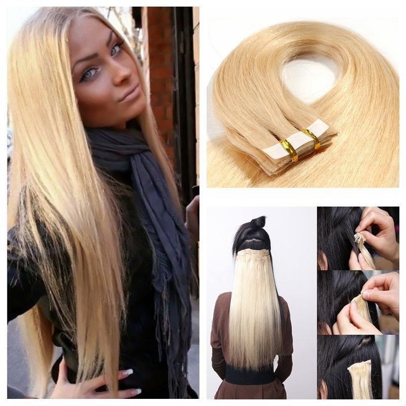 Top Quality 100g 40pcs Glue Skin Weft Pu Tape In Human Hair