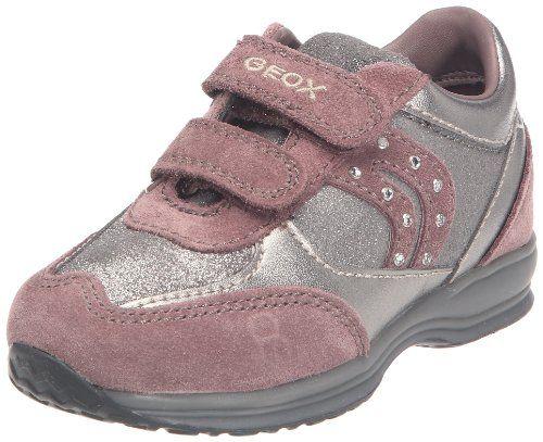 Geox B FLICK GIRL A - Zapatos de primeros pasos de cuero bebé, color gris, talla 21